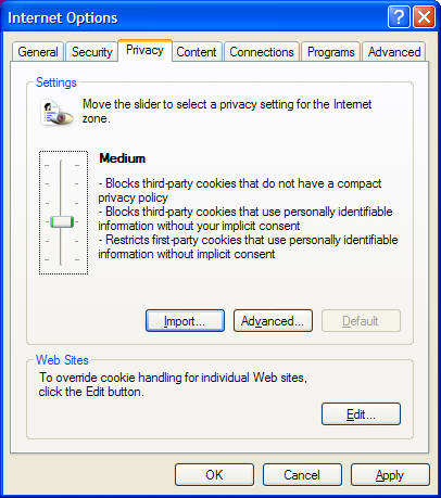 Internet Explorer cookie instructions